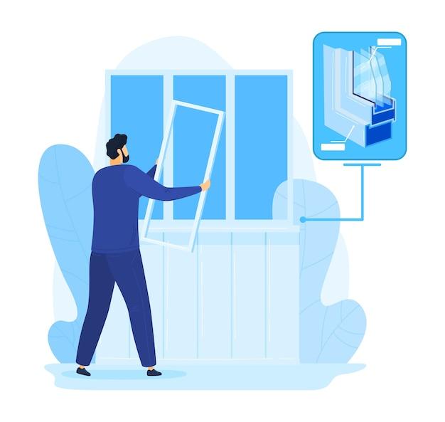 Reparo em casa, ilustração de construção de janela de conserto de homem. trabalhador manual em casa, serviço de trabalho de vidro pelo construtor de pessoa. reparação de instalação e substituição de plástico. trabalho de instalação profissional. Vetor Premium