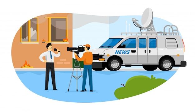 Reportagem de notícias. jornalista homem com microfone Vetor Premium