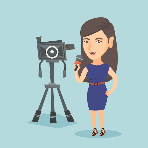 Repórter de tv caucasiano com microfone e câmera. Vetor Premium