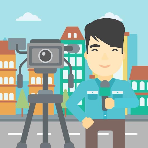 Repórter de tv com microfone e câmera. Vetor Premium