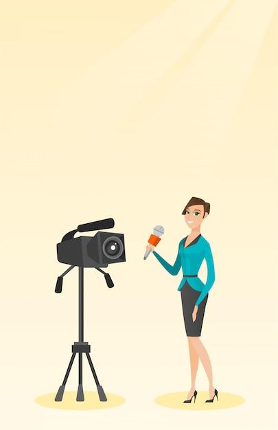 Repórter de tv com um microfone e uma câmera. Vetor Premium
