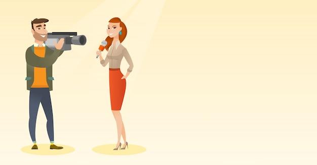 Repórter e operador de tv Vetor Premium