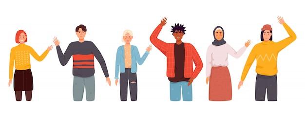 Representantes de diferentes nações, acenando com a mão. homens, mulheres em roupas casuais dizem olá. Vetor Premium