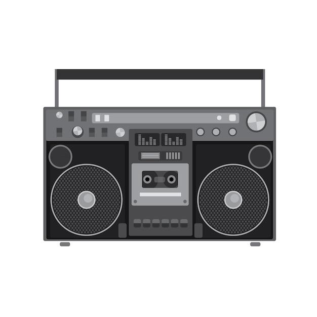 Reprodutor de áudio retrô em uma ilustração de design plano Vetor Premium