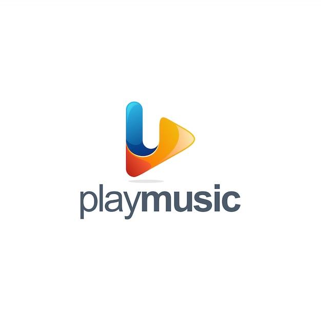 Reproduzir logo da música Vetor Premium