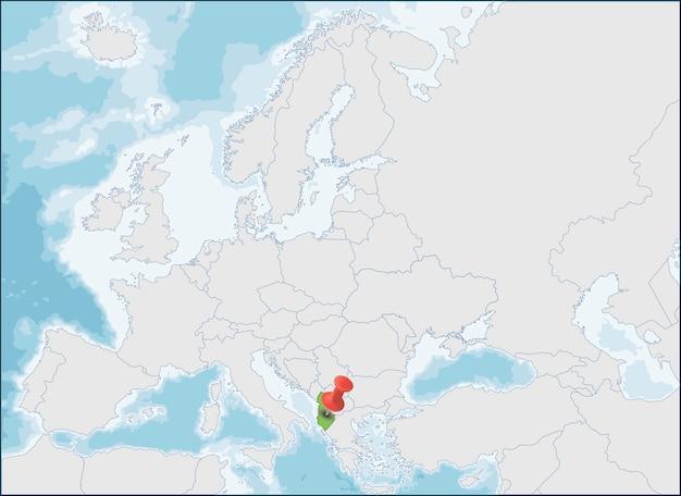 República da albânia localização no mapa da europa Vetor Premium