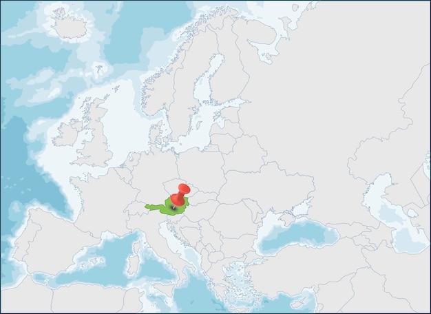 República da áustria localização no mapa da europa Vetor Premium