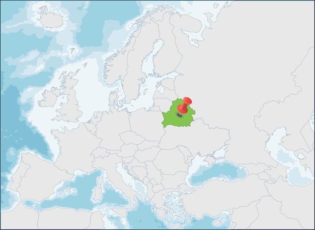 República da bielorrússia localização no mapa da europa Vetor Premium