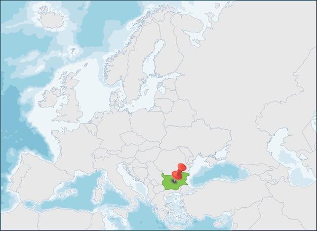 República da bulgária localização no mapa da europa Vetor Premium
