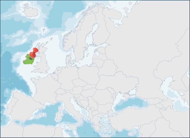 República da irlanda localização no mapa da europa Vetor Premium