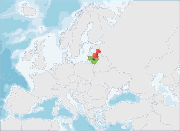 República da lituânia localização no mapa da europa Vetor Premium