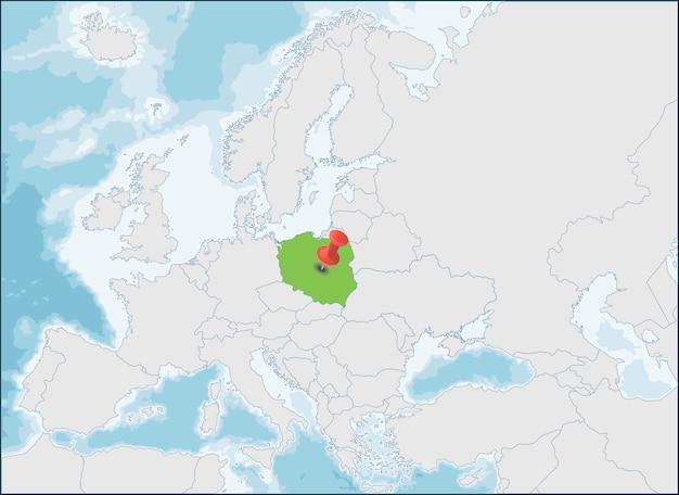 República da polónia localização no mapa da europa Vetor Premium