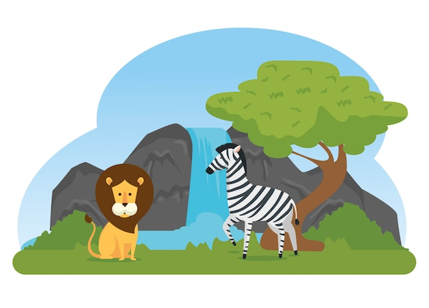 Reserva de animais selvagens de leão e zebra Vetor grátis