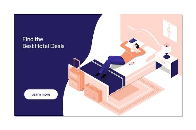 Reserva de hotel de reserva de homem na digital tablet Vetor Premium