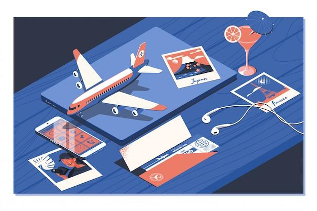 Reserva de passagens aéreas com uma miniatura de avião Vetor Premium