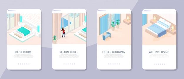 Reserva online best room resort hotet illustration Vetor Premium