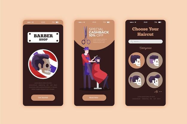 Reserva para barbearia smartphone app Vetor grátis