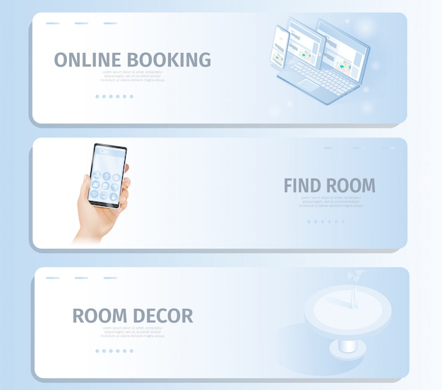 Reservas online encontre quarto decor banner landing page Vetor Premium