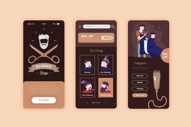 Reservas para barbearia app para celular Vetor grátis