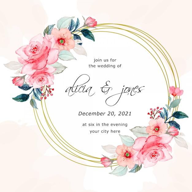 Reserve a data. cartão de convite de casamento com aquarela floral Vetor Premium
