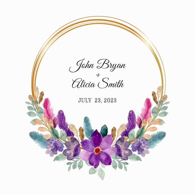 Reserve a data. coroa de flores roxas e penas com aquarela Vetor Premium