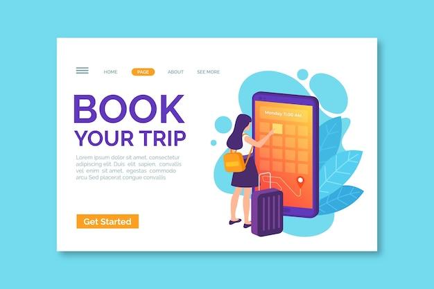 Reserve sua página de destino da viagem Vetor grátis