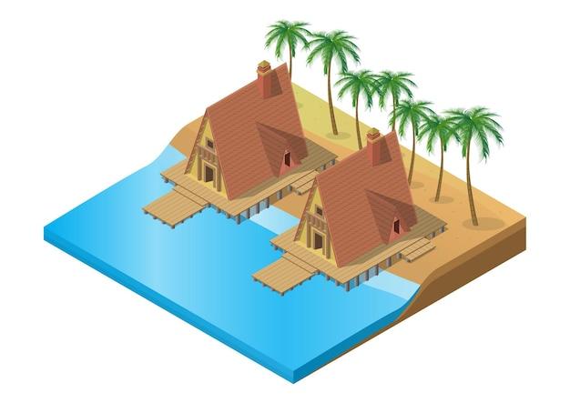 Resort tropical isométrico de madeira na praia com palmeira Vetor Premium