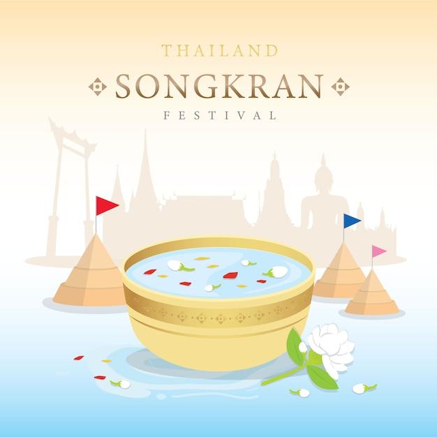 Respingo da água do festival de songkran de tailândia, vetor tradicional tailandês Vetor Premium