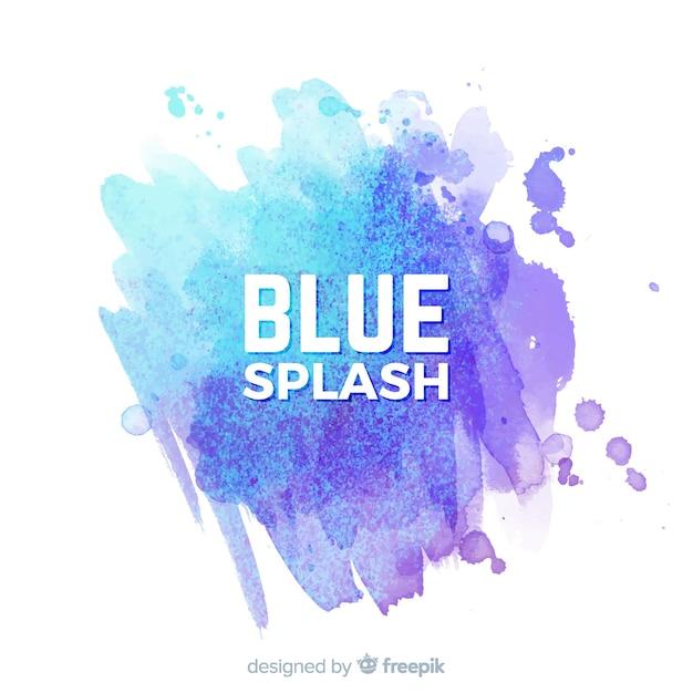 Respingo de aquarela azul Vetor grátis