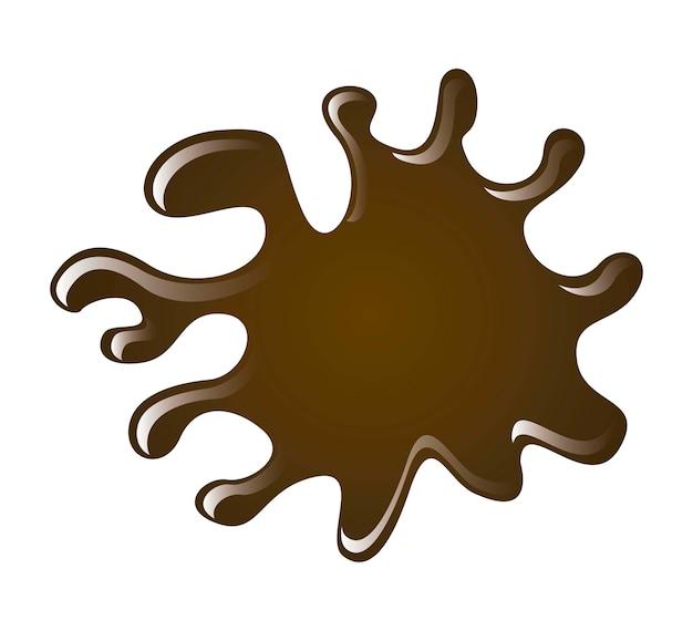 Respingo de chocolate sobre ilustração vetorial de fundo branco Vetor Premium
