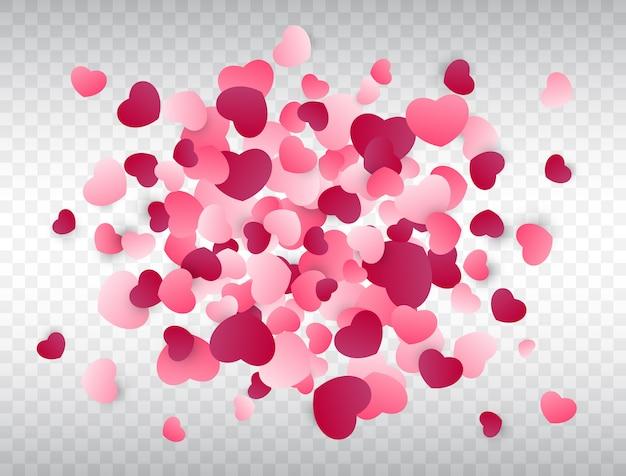 Respingo de confete de coração Vetor Premium