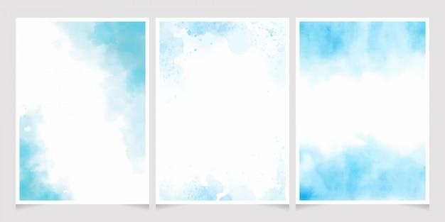 Respingo de lavagem aquarela azul com coleção de modelo de cartão de convite moldura dourada 5x7 Vetor Premium