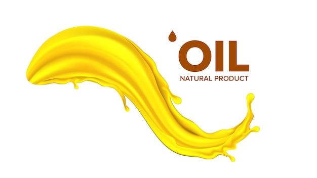 Respingo de óleo. gota líquida. gota de ouro Vetor Premium