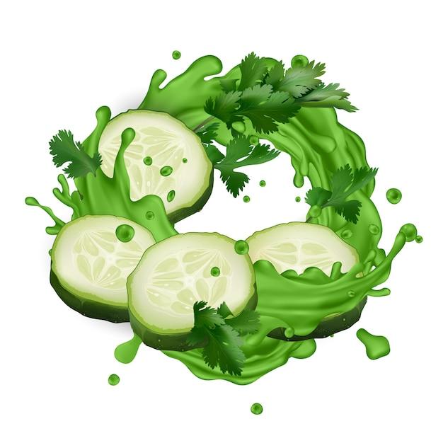 Respingo de suco verde com fatias de pepino e folhas de aipo Vetor Premium