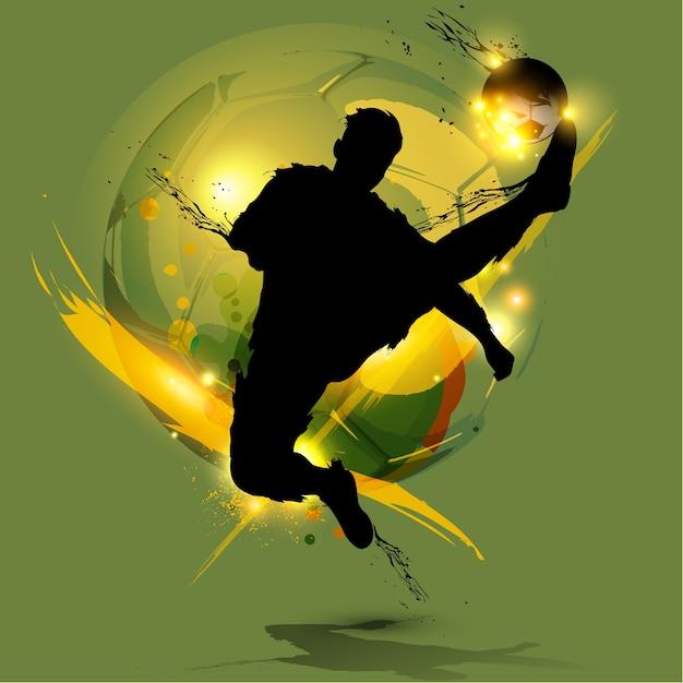 Respingo de tinta de jogador de futebol Vetor Premium