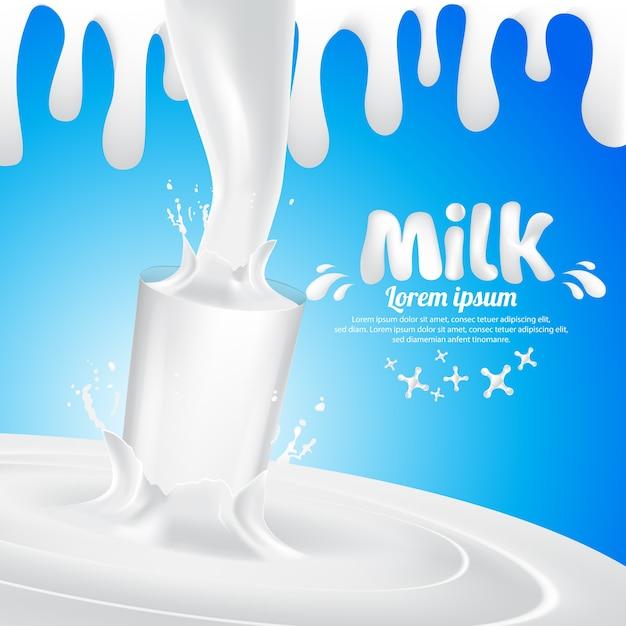 Respingo de vidro de leite vector background ilustração Vetor Premium