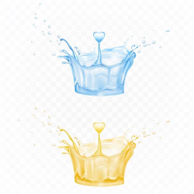 Respingos de água em forma de coroa nas cores azuis e amarelas com gotículas de pulverização e gota de coração Vetor grátis