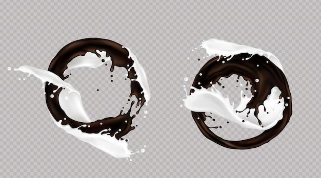 Respingos de leite e chocolate escuro ou café misturados em redemoinho isolado em fundo transparente. gotas dinâmicas líquidas, despejando elementos para design de embalagem, anúncio promocional, ilustração vetorial 3d realista Vetor grátis