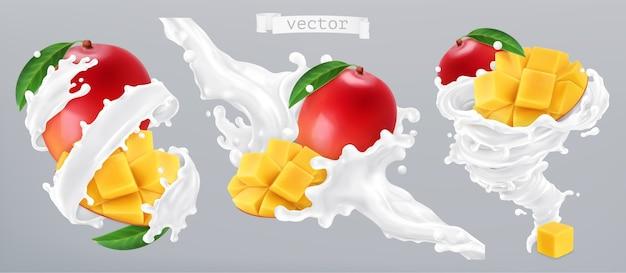 Respingos de manga e leite, iogurte. ilustração vetorial realista 3d Vetor Premium
