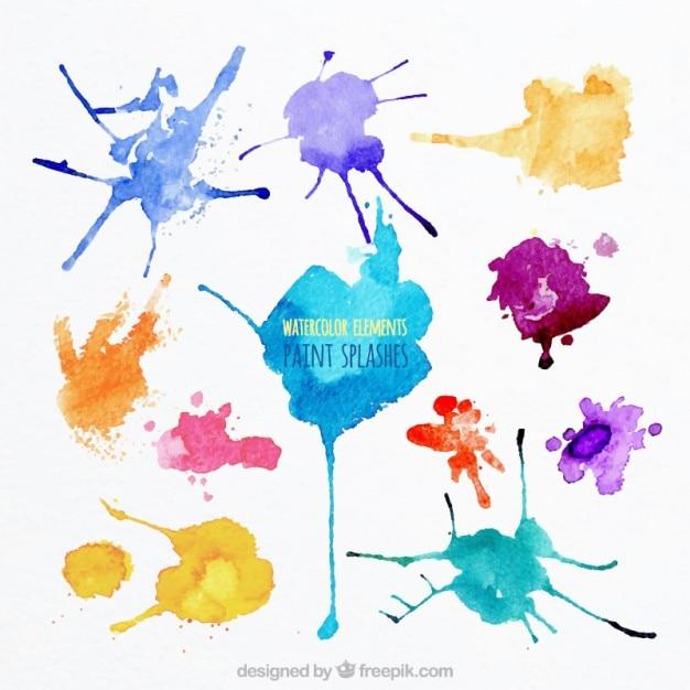 Respingos de tinta aquarela Vetor grátis