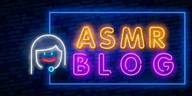 Resposta meridiana sensitiva autônoma, asmr em neon Vetor Premium