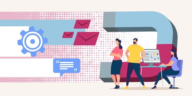 Respostas e mensagens de atração do bright flyer. Vetor Premium