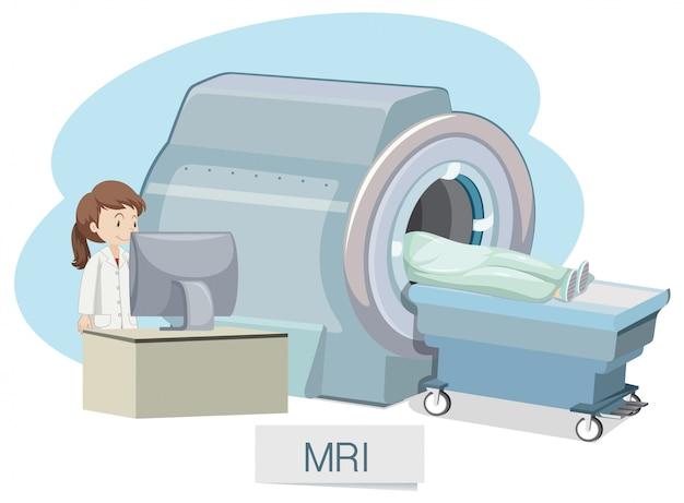 Ressonância magnética no fundo branco Vetor Premium