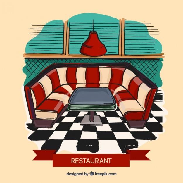 Restaurant interior ilustration Vetor grátis
