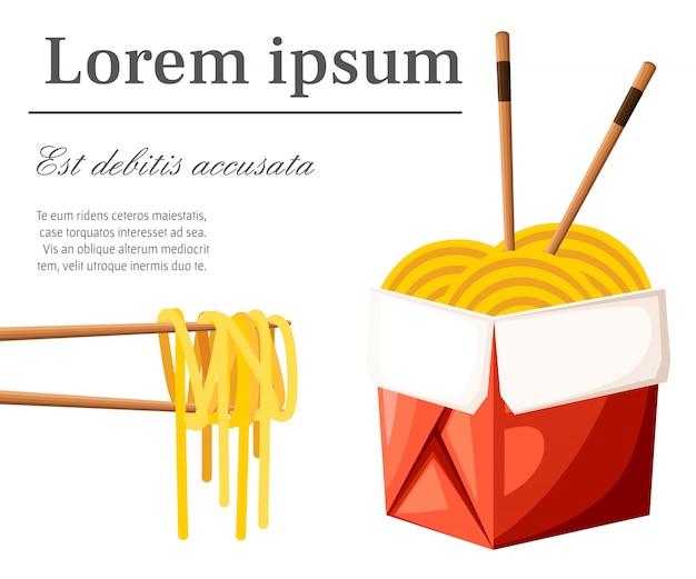 Restaurante chinês leva embora o conceito. caixa de comida vermelha com macarrão e palitos. ilustração com lugar para o seu texto sobre fundo branco. página do site e aplicativo móvel Vetor Premium
