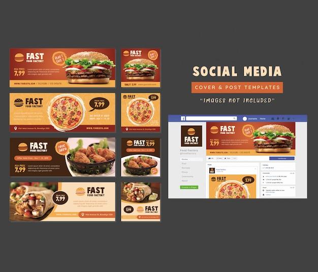 Restaurante comida social media cover & post template Vetor Premium