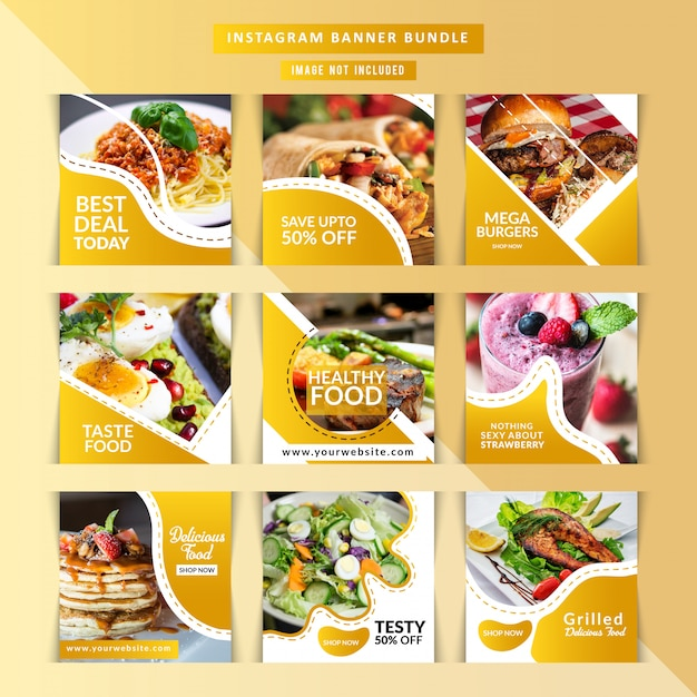 Restaurante de comida para postagem de mídia social Vetor Premium