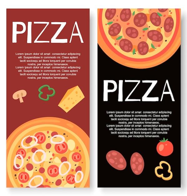 Restaurante de pizza com banner de ingredientes Vetor Premium