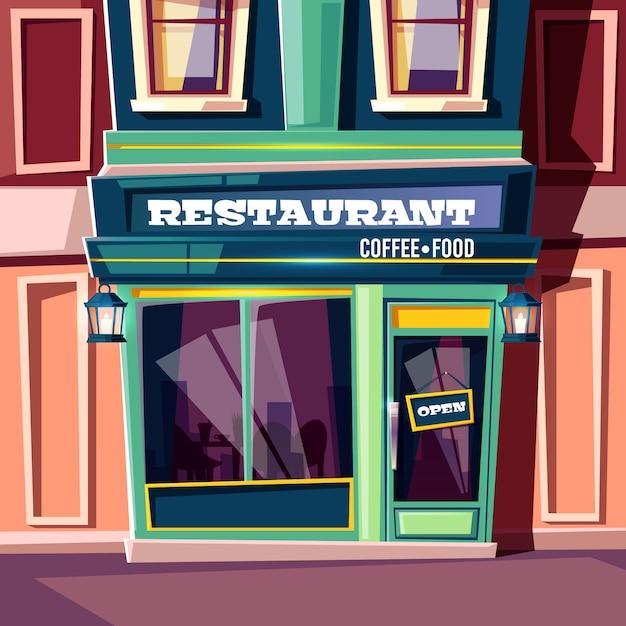Restaurante de rua da cidade com placa aberta na porta de entrada e lanternas vintage Vetor grátis