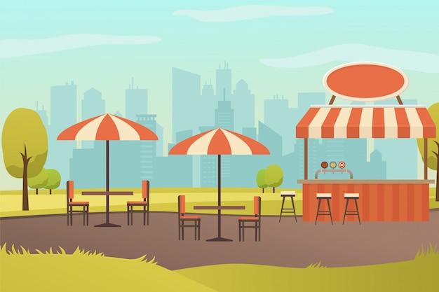 Restaurante de rua ou bar no vetor de parque da cidade Vetor Premium